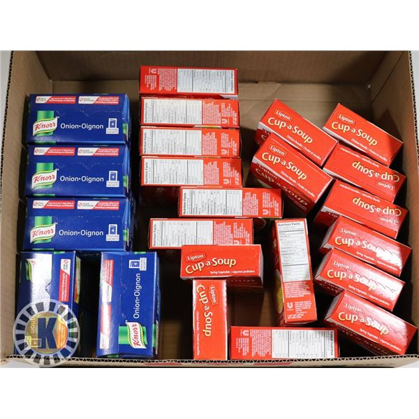 BOX OF ASSORTED SOUP AND MORE