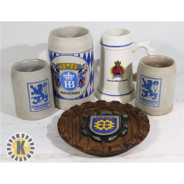4 COLLECTIBLE BEER STEINS & 1 DECORATIVE ART/PLATE