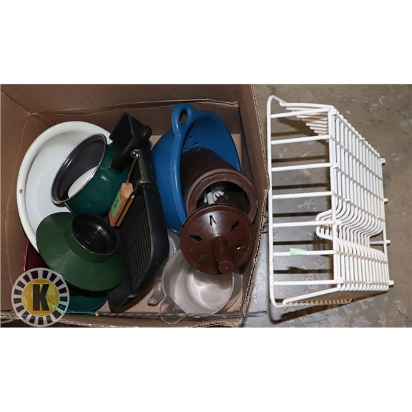 BIG BOX OF COOKING UTENSILS AND DISH RACK
