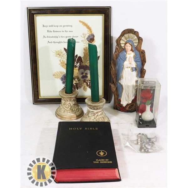 FLAT OF JESUS THEMED DECOR AND HOLY BIBLE
