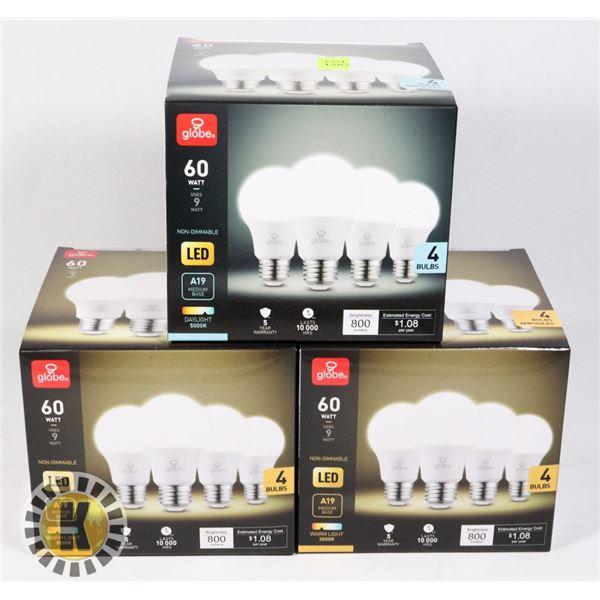 THREE BOXES OF 4 GLOVE LED LIGHT BULBS
