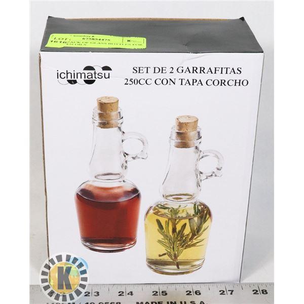 NEW 2PACK OF GLASS BOTTLES FOR KITCHEN OILS