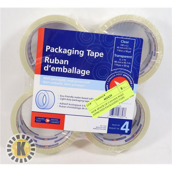 NEW 4PACK OF CANADA POST APPROVED PACKAGING TAPE