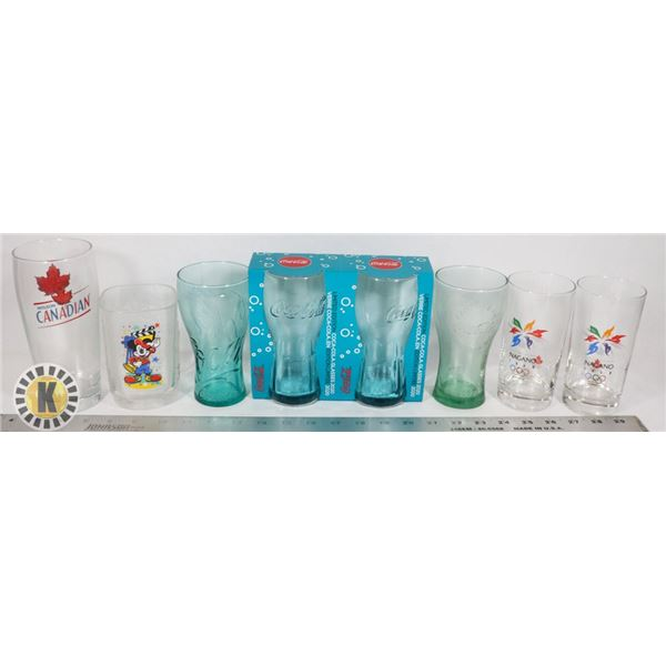 FLAT OF COLLECTIBLE GLASSWARE INCLUDING COKE