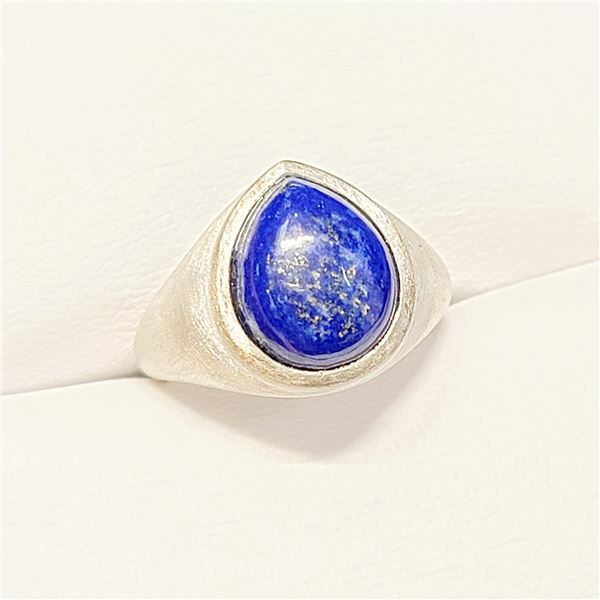 SILVER LAPIS(4.8CT)RING (~SIZE 6.5)(~WEIGHT