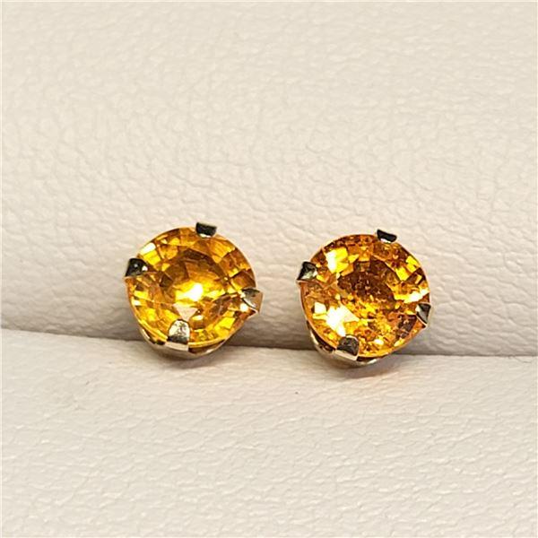 10K YELLOW GOLD FANCY SAPPHIRE(1.2CT)  EARRINGS