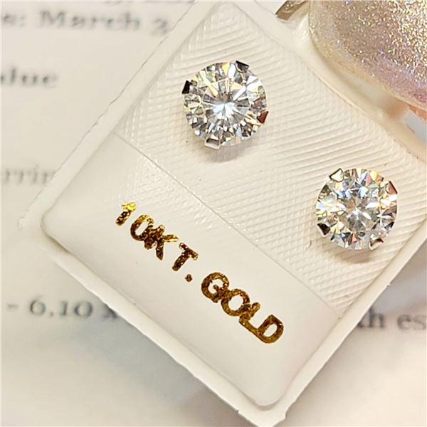 10K WHITE GOLD MOISSANITES(1.52CT)  EARRINGS