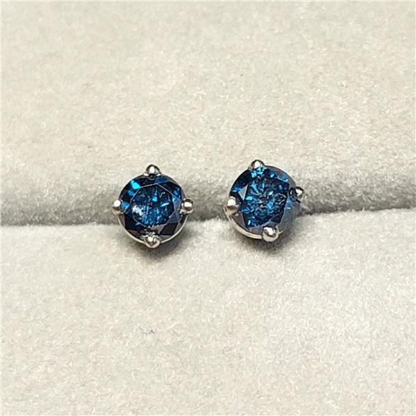 14K WHITE GOLD DIAMONDS (I-1, BLUE,  0.38CT)