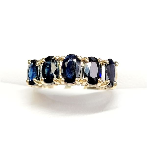10K YELLOW GOLD BLUE SAPPHIRES(3.3CT)  RING