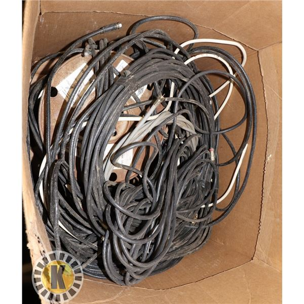 LARGE BOX OF COMMUNICATION CABLES & OUTDOOR LIGHTS