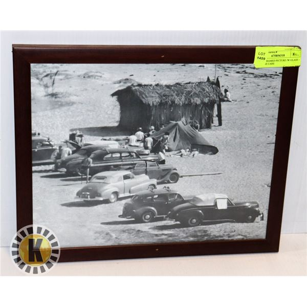 WOOD FRAMED PICTURE /W GLASS – VINTAGE CARS