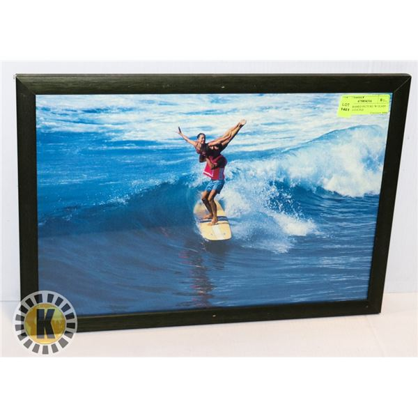 WOOD FRAMED PICTURE /W GLASS – SURFING COUPLE