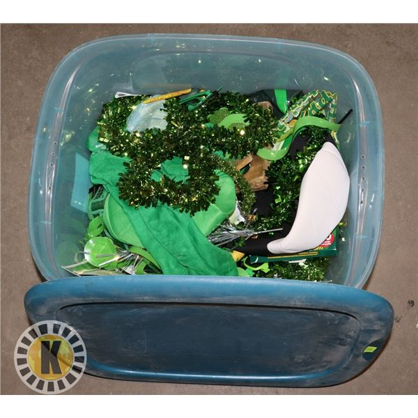 TOTE OF ST.PATRICK DAY SUPPLIES