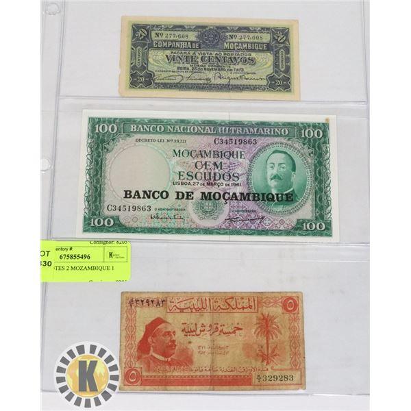 3 BANKNOTES 2 MOZAMBIQUE 1 LIBYA