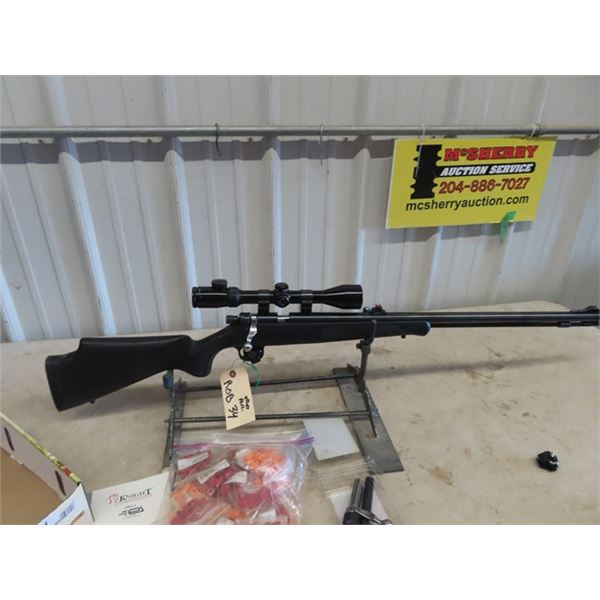 ROB34 Knight In Line 50 Cal Black Powder Rifle w Bushnell Scope Composite Stock, New Condition S#051