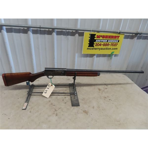 """GS43 Browning Mdl 5 SA 12 GA 2 3/4"""" BL=28.5"""" S#36744 Stock Piece Broken out at wrist, also shortened"""