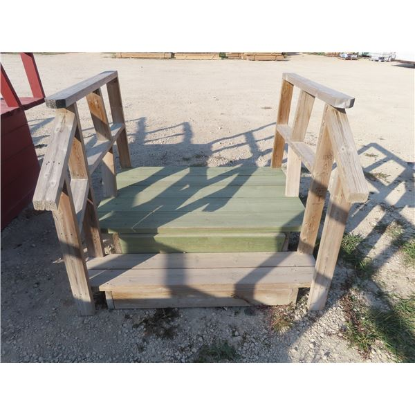 """Treated Lumber 2 Rise Stairs- Platform Height 14"""" , 54"""" Width"""