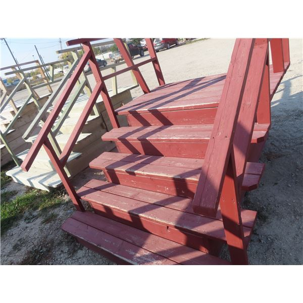"""USed Stairs - Treated Lumber 5 Rise, 35"""" to Platform, 66"""" Wide"""