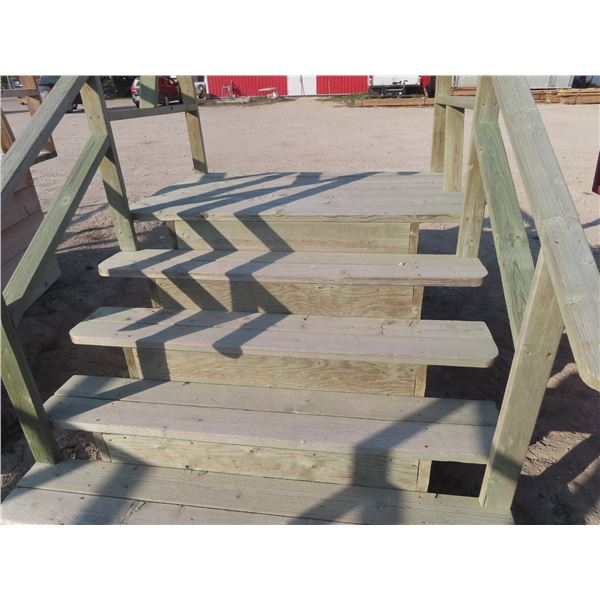 """Treated Lumber 5 Rise Stairs, Platform Height 35"""" 60"""" Width"""