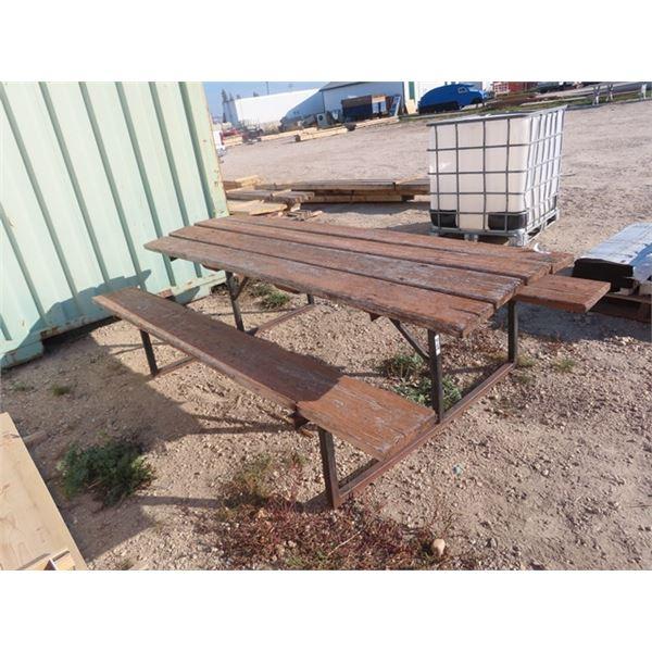 Steel Framed & Wood Picnic Table