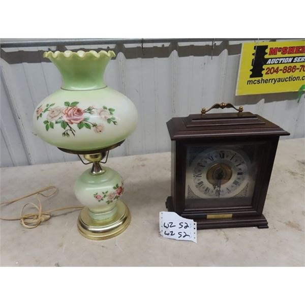 Lamp w Shade & Bulova Mantle Clock