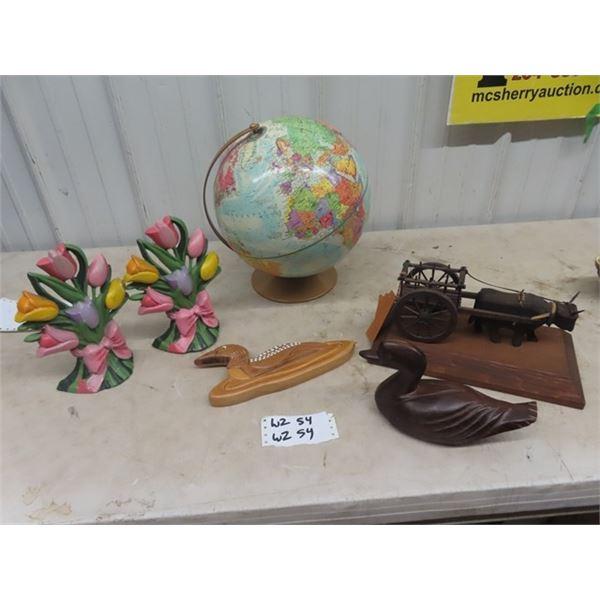 Globe, 2 Cast Flower Door Stops, Wooden Red River Cart & Duck Ornament