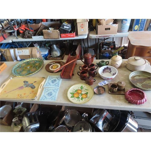 PotteryTea Set C & S , Covered Pot, Teak Bread Slicer, Trays Plus More!