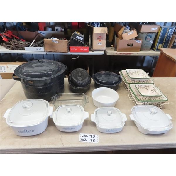 Canner, 2 Roasters, Corning Ware, Anchor Hocking, 4 Baking Dishes w Racks