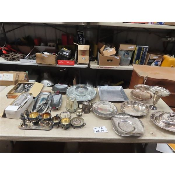 Vintage Silver Items, Trays, Creamers, Coasters, Cutlery & More