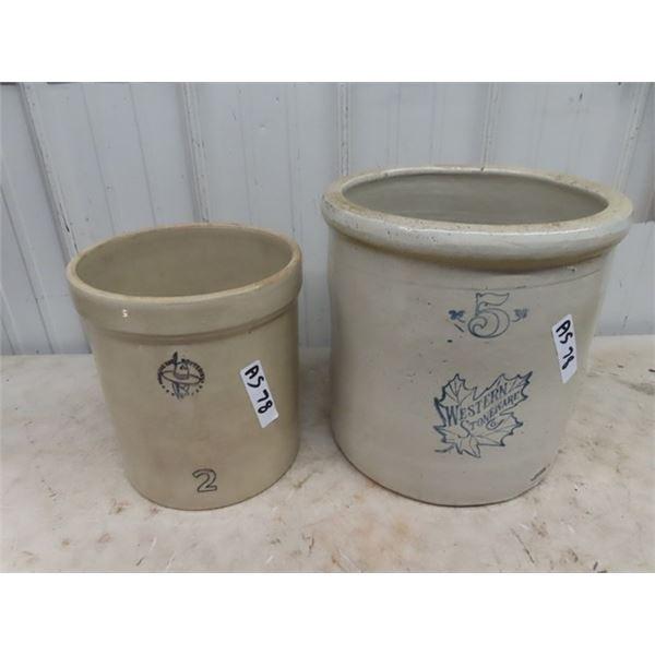 5 Gal Western Stoneware Crock, & 2 Gal Medicine Hat Pottery Crock