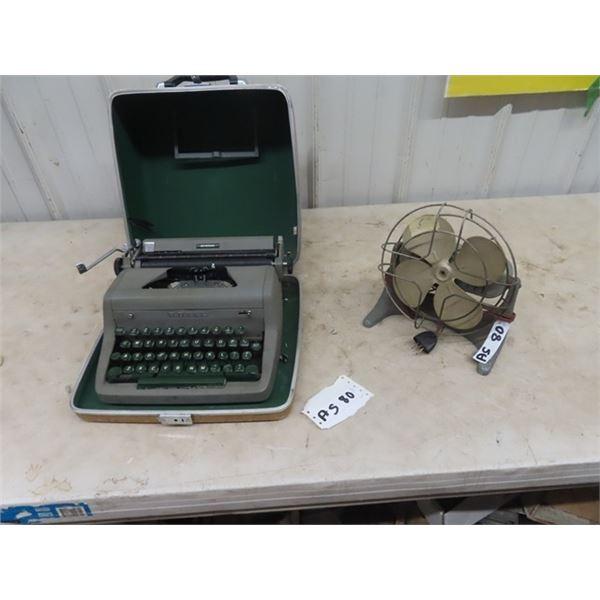 Royal Manual Typewriter & Fan