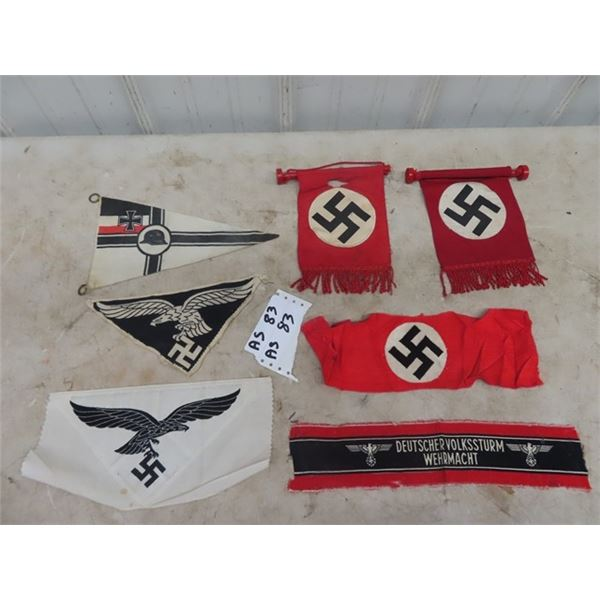 7 German Small Banner Flags & Arm Bands