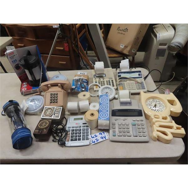 Telephone, Office Items, Clocks Plus More!