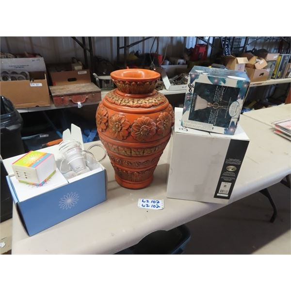 New Tea Set , Large Ceramic Vase, 2 Light Fixtures