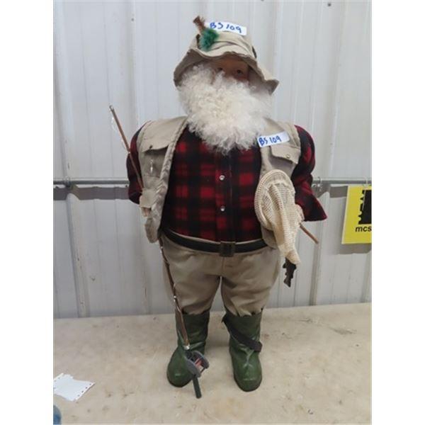 """Fishing Santa Ornament 36"""" Tall"""