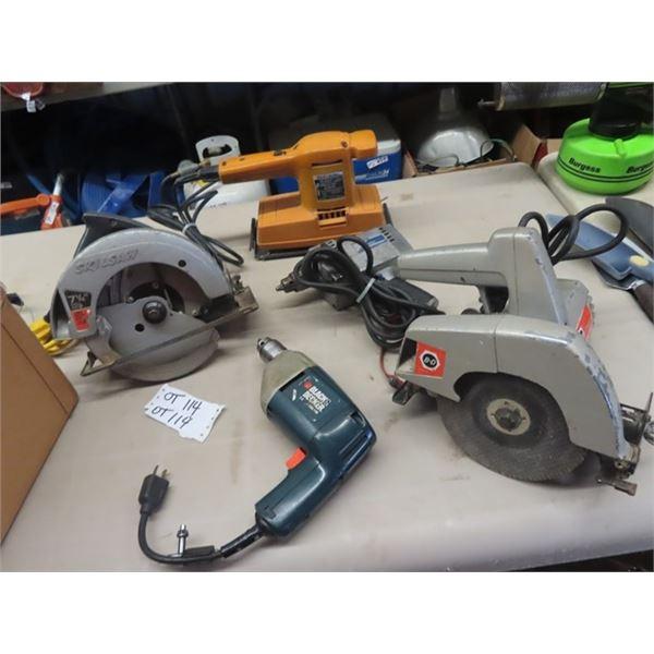 5 Power Tools, 2 Drills, Sander, & 2 Circ Saws