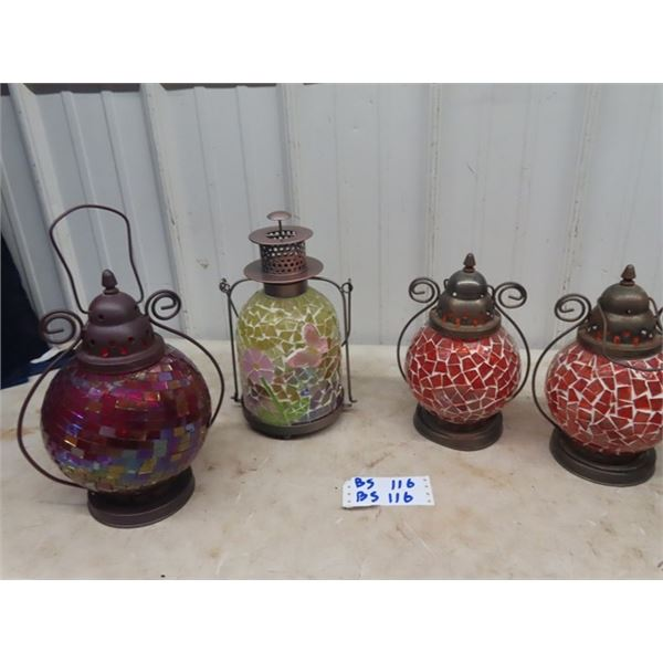 4 Mosaic Glass Hanging Candle Holders