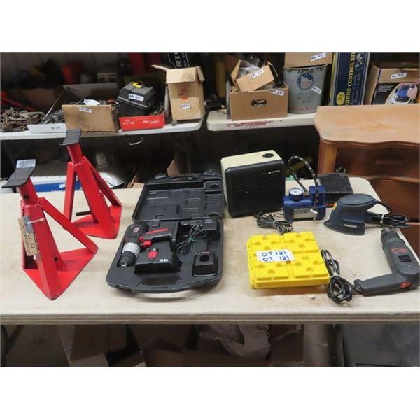 Job Mate 18V Cordless Drill, Elec Heater, Mastercraft Sander, 12 Volt Air Comp, Heat Gun, & 2 Stabil
