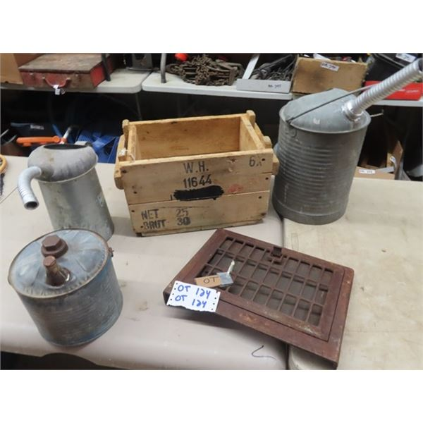 Wooden Crate, Heating Grate, 3 Galv Gas Pails