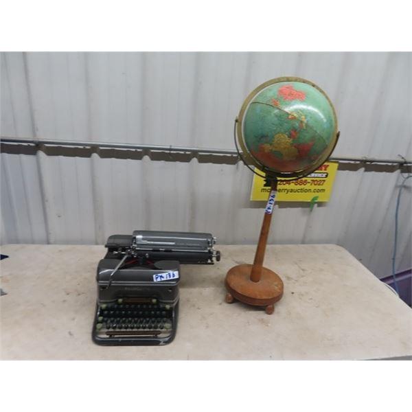 Smith Corona Typewriter , Globe & Stand