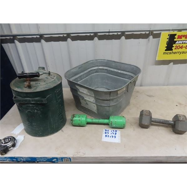 Galv Tun, Gas Pail w Spiggot , 2 Steel Exercise Weights, Dumbells