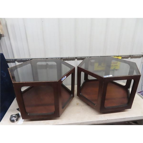 """2 End Tables - 20"""" H & 27"""" RD"""