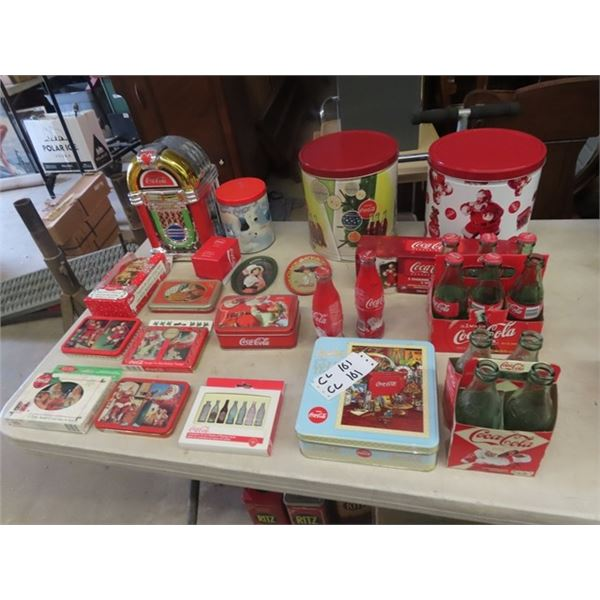 Coca Cola Collectibles, Cookie Jar, Cards, Tins Plus More!