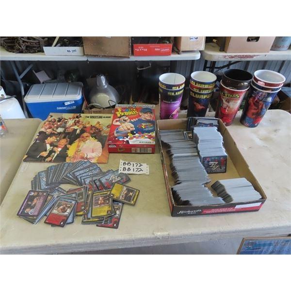 Wrestling Items, Album, Cards, Slurpee Cups Post Cereal