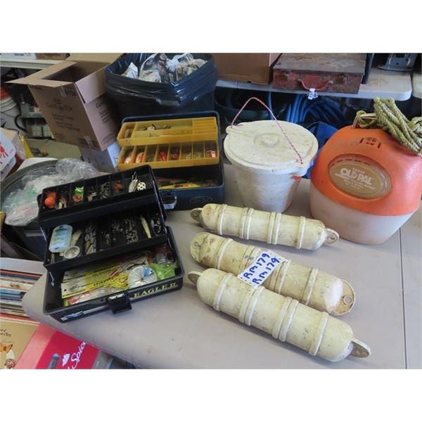 2 Fishing Tackle Boxes, Minnow Pails, Plus Floats