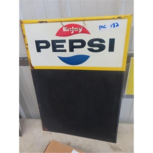 """Metal Embossed Pepsi Menu Board 19"""" x 27"""""""