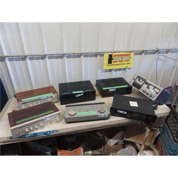 7 Pcs Stereo Equip- AS IS- No Sound, No Cord, Receiver, Cassette Decks, Controll Unit, Various Brand