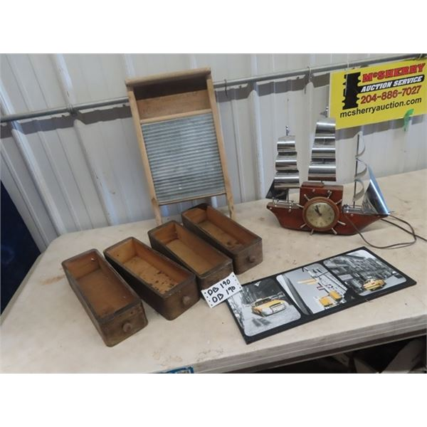 Mantle Ship Clock , Washboard, Sewing Machine Drawer, & Taxi Picture