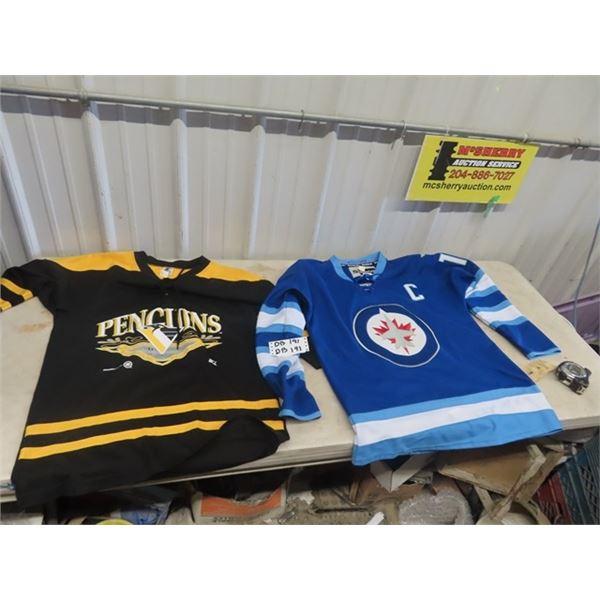 2 Hockey Jerseys- Wpg Jets Size 52, Penguins Size Med