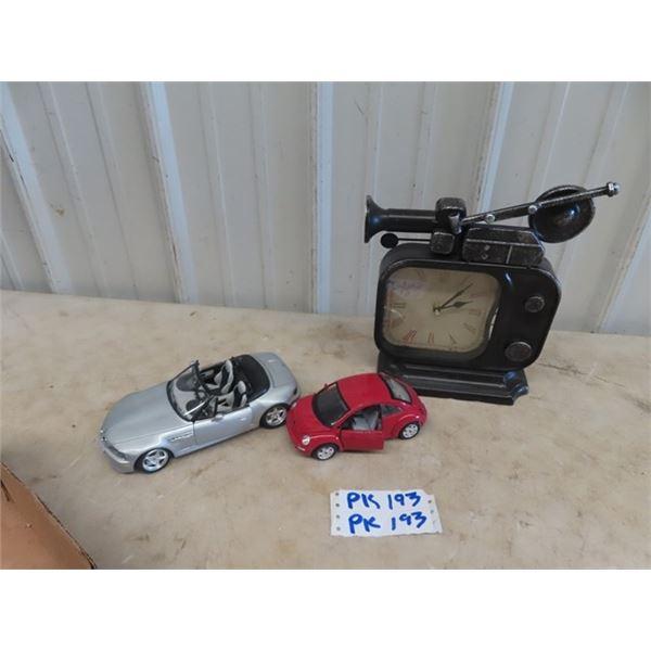 2 Die Cast Cars & Clock